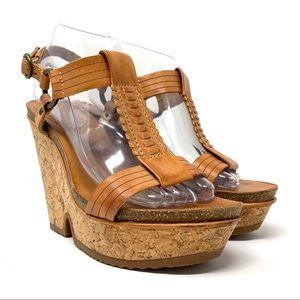 Frye Braylin Artisanal T-Strap Cork Wedge Sandals